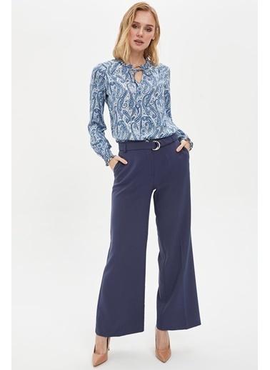 DeFacto Desenli Uzun Kollu Bluz Mavi
